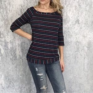 Navy striped boat neck top